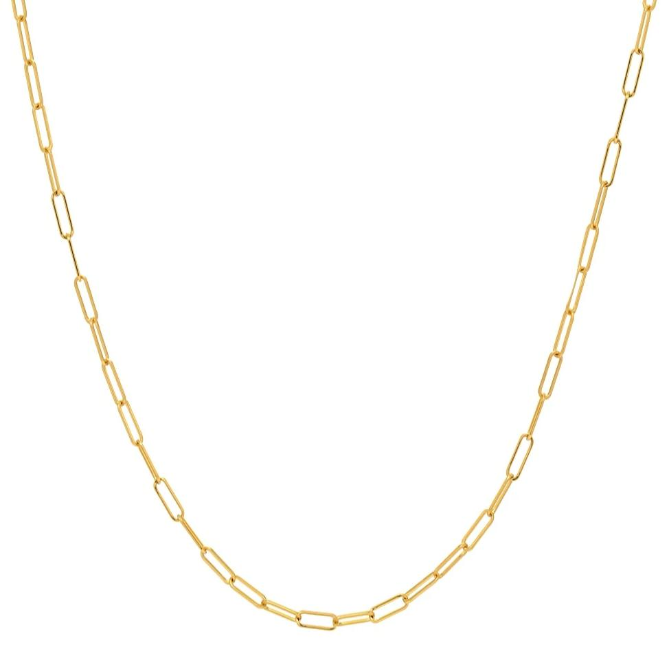 14K Paper Clip Link Chain Necklace