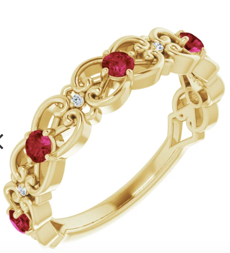14K  Ruby & .025 CTW Diamond  Antique style Scroll Ring in Yellow Gold, White Gold and Rose Gold