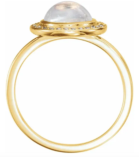 14K Gold Rainbow Moonstone & 1/8 CTW Diamond Bezel Surround Ring available in Yellow Gold, Rose Gold and White Gold