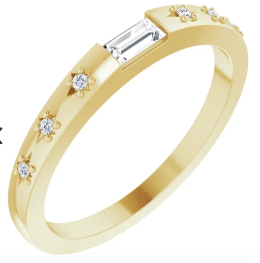 14K 1/8 CTW Diamond Stackable Ring available in Rose gold, Yellow Gold and White Gold