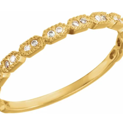 14K Gold .08 CTW Diamond Stacking Ring in Yellow Gold, White Gold and Rose Gold
