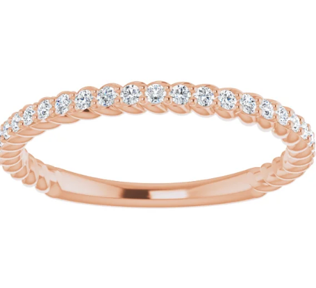 14K Ring  1/4 CTW Diamond Rope Anniversary Band in White Gold, Yellow Gold and Rose Gold
