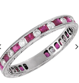 14K  Ring White Gold Ruby & 1/4 CTW Diamond Eternity Band