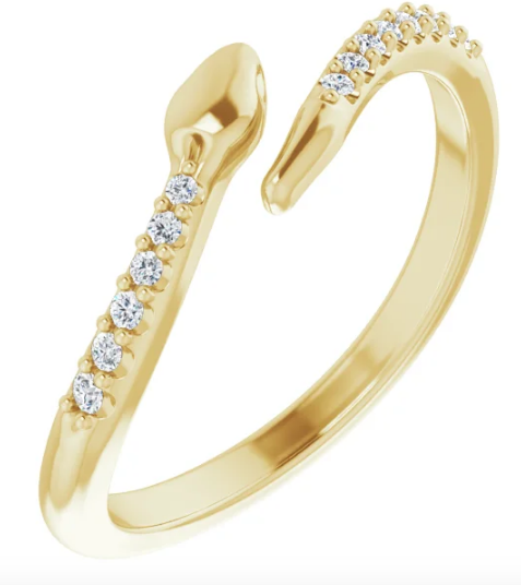14K Gold and Diamond .08 CTW Diamond Snake  Ring available in Yellow Gold, White Gold and Rose Gold