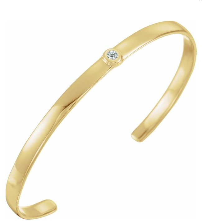 "14K Yellow 1/10 CT Diamond Cuff 6"" Bracelet available in Yellow, white, rose gold and sterling silver"