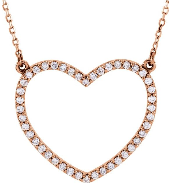 "14K yellow gold or rose gold  1/3 CTW Diamond Petite Heart 16"" Necklace Item"