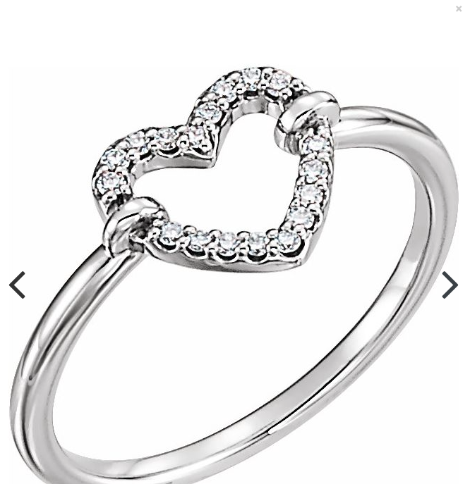 gold,yellow gold,white gold,rose gold .07 CTW Diamond Heart Ring