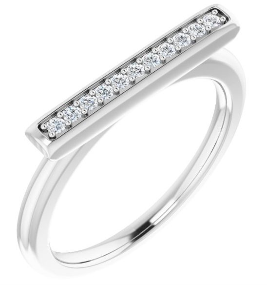 14K Yellow, rose or white gold  1/10 CTW Diamond Bar Ring