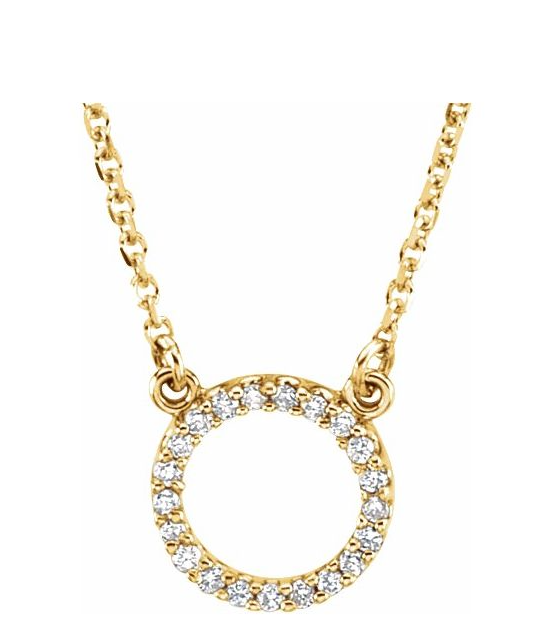 "14K White , yellow gold and rose gold available 1/10 CTW Diamond Circle 16"" Necklace"