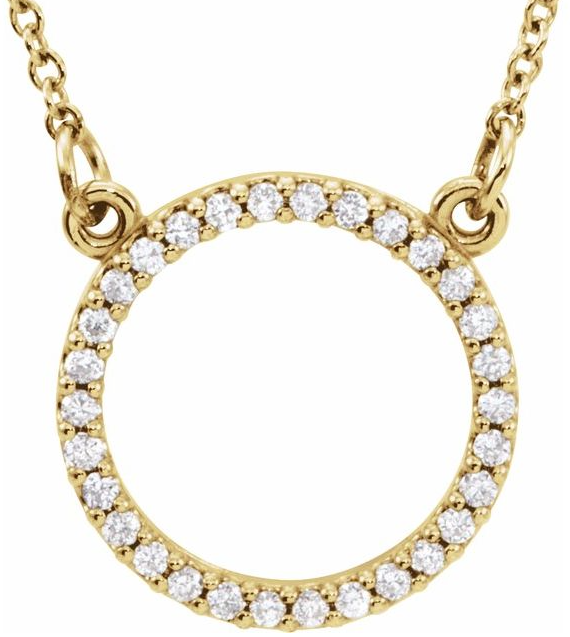 "14K Yellow also available in white gold 1/8 CTW Diamond 16"" Necklace"