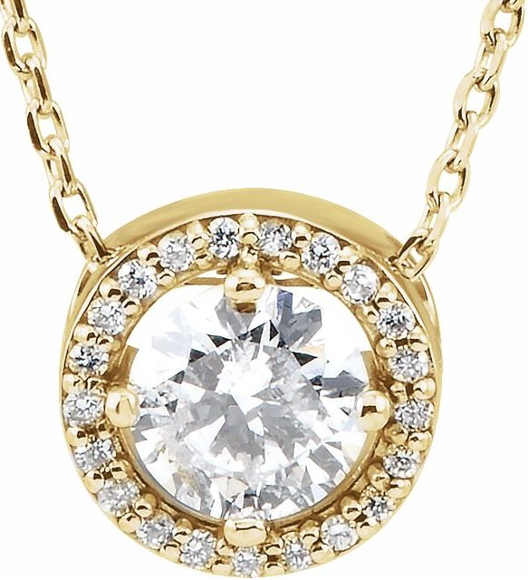 "14K Yellow 1/2 CTW Diamond Halo-Style 16"" Necklace"