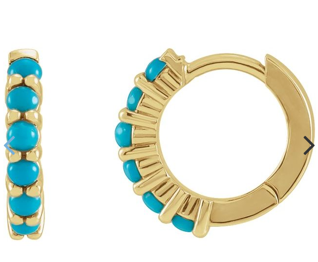 14K Yellow Turquoise Hinged Hoop Earrings