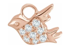 Pave Diamond Bird in Flight Charm