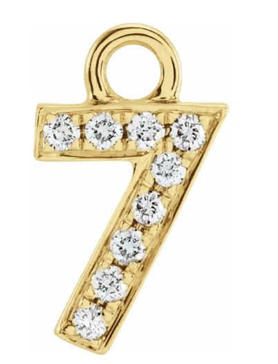 Diamond Number Charms: 1 - 9 Available in Yellow, White and Rose Gold