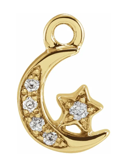 Petite Pave Diamond Moon and Star Charm