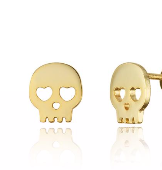 14k Yellow Gold Skull Shaped Studs