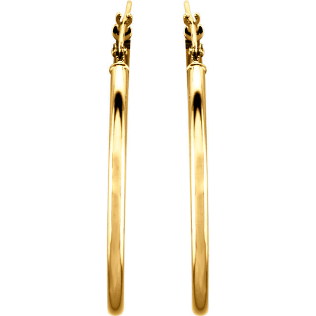 14K 34mm Tube Hoop Earrings
