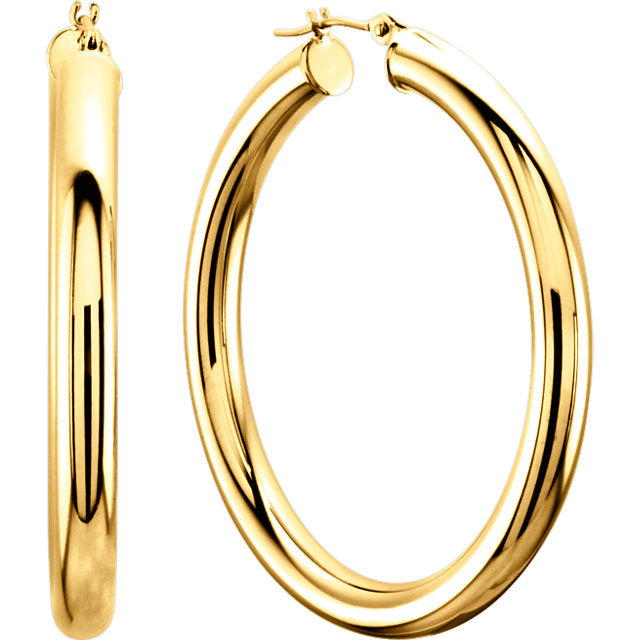 14k 40mm Thick Hoop Earrings