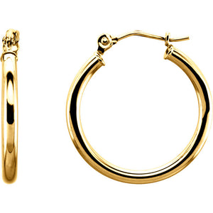 14K 20mm Tube Hoop Earrings
