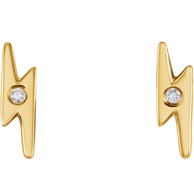 14k Single Diamond Lightning Bolt Studs