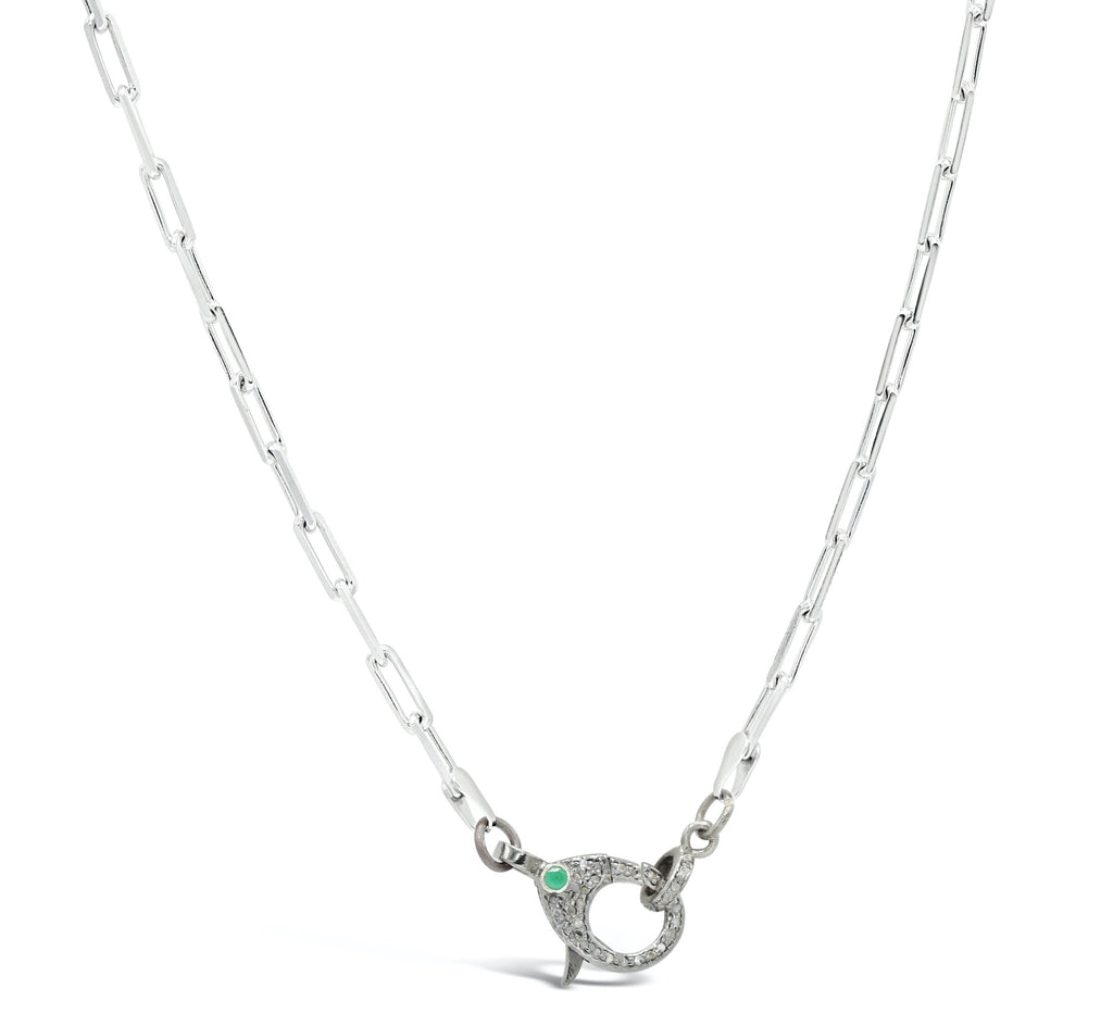 Emerald Diamond Clasp on Silver Paper Clip Chain Necklace