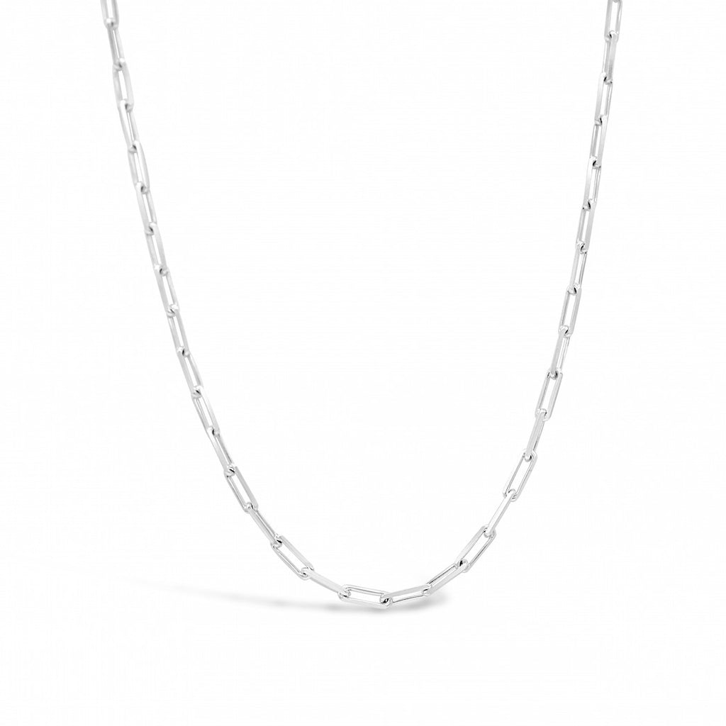 Paperclip chain small link sterling silver