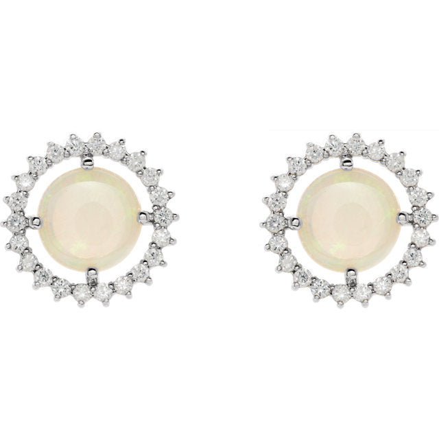 14k Opal Diamond Halo Studs