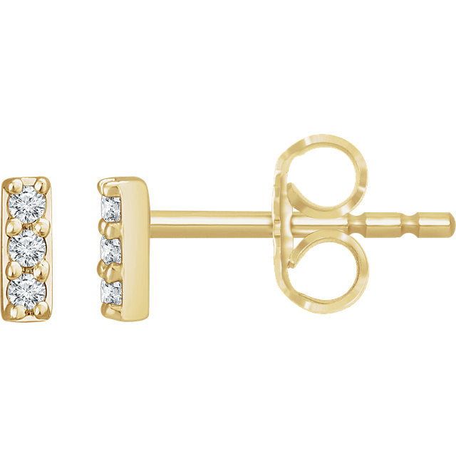 14k Mini Diamond Bar Studs