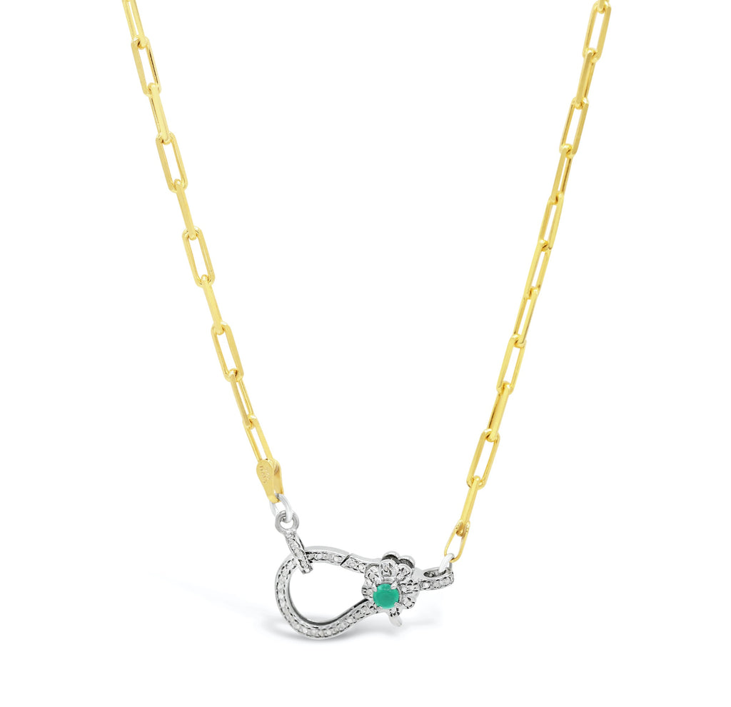 Emerald Diamond Clasp on Paper Clip Chain Necklace