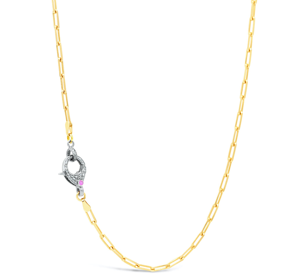 Ruby Diamond Clasp on Gold Paper Clip Chain Necklace