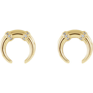 14k Diamond Crescent Studs