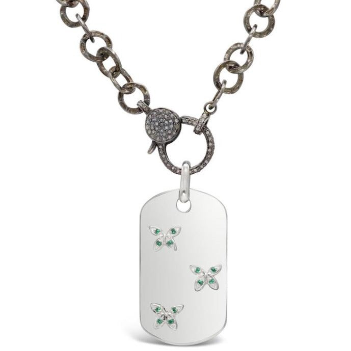 Emerald Butterfly Dog Tag with Diamond Clasp Necklace