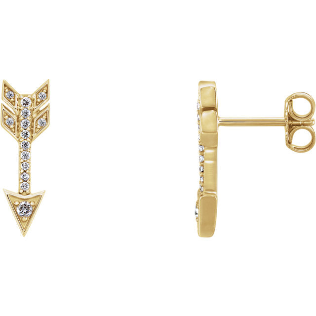 14k Diamond Arrow Studs