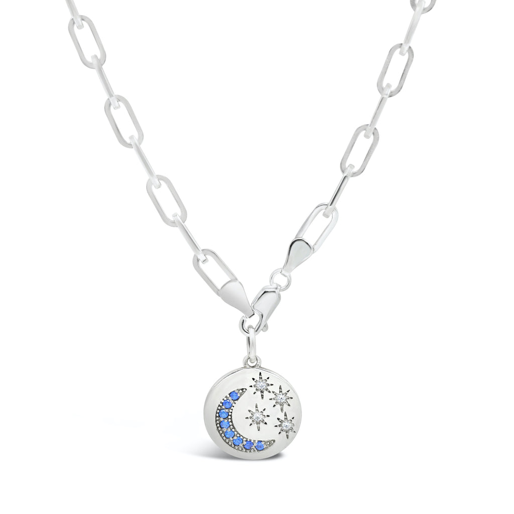 Starry Night Medallion Diamond and Blue Sapphire Paper Clip Chain Necklace