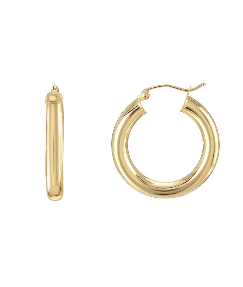 14k Small Thick Hoop Earrings