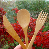 Bamboo 3 Piece Cutlery Set With Carrying Bag