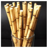 Bamboo Design Paper Drinking Straws - 100 pieces