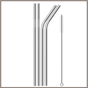 Stainless Steel Drinking Straws - 4 Count With Cleaning Brush