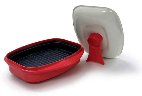 Microhearth Grill Pan - Nonstick 2-piece Grill for Microwave Cooking, Red
