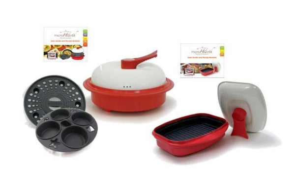 Microhearth COMBO Set - Nonstick 6-piece Microwave Cookware Set (Incl. Everyday + Grill Pan Sets), Red