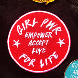 Girl Pwr Embroidered Patch - red feminist patch