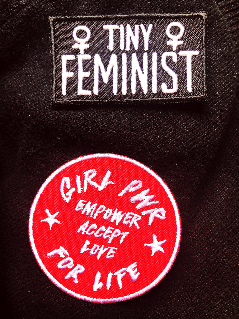 Girl Pwr Embroidered Patch - Red feminist patch from Punky Moms. Empower Accept Love