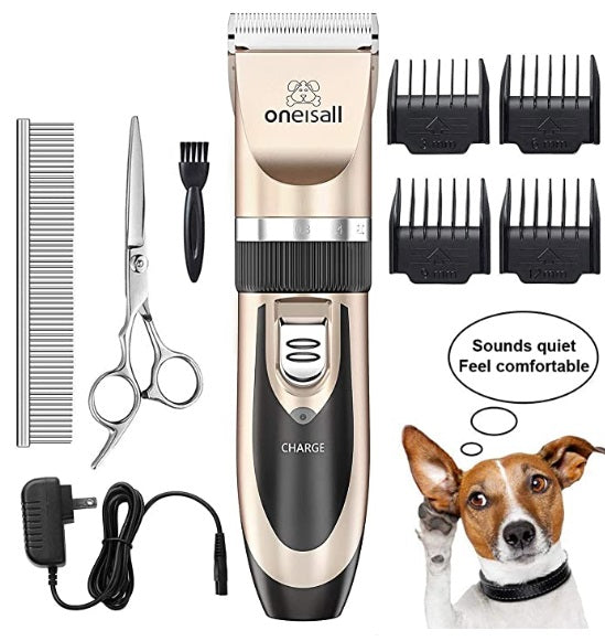 Gold OneisAll Cordless Electric Clippers Set for Dog & Cat