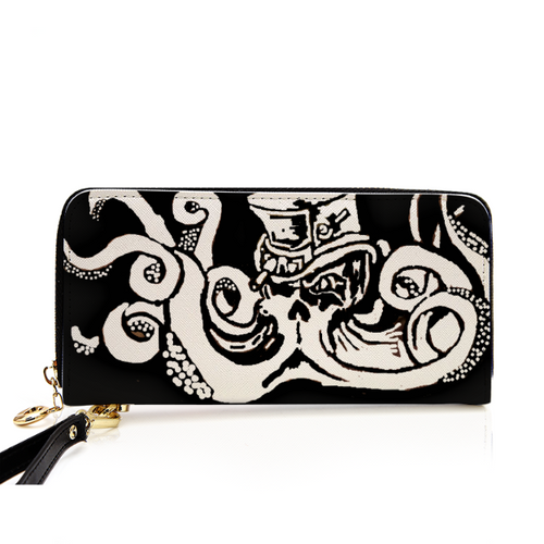 Steampunk octoskull PU Leather Zip Around Wallet For Card, phone and Money