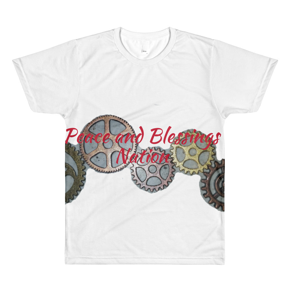 Peace and Blessings Nation steampunk gears All-Over Printed T-Shirt