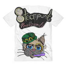 Steampunk skullie with kitty on back Sublimation women's crew neck t-shirt