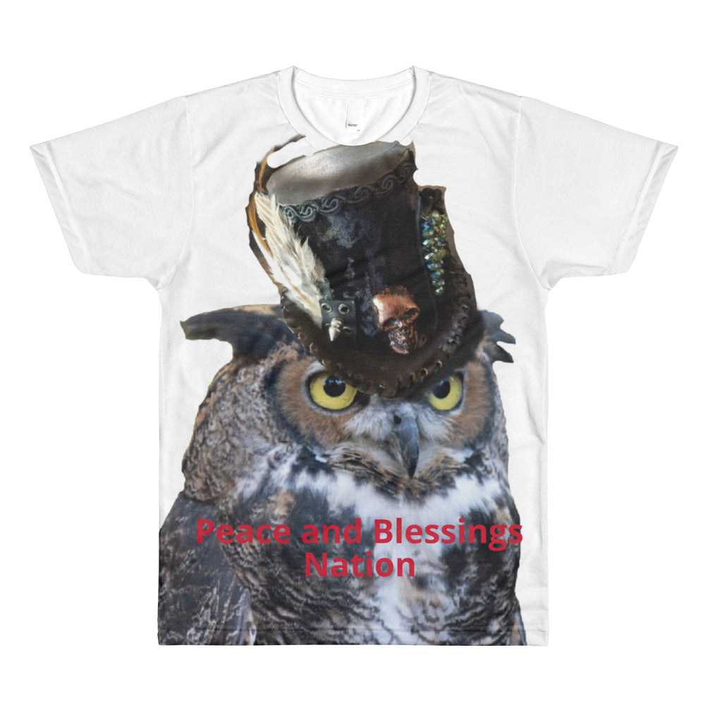 Steampunk owl with logo on back All-Over Printed T-Shirt