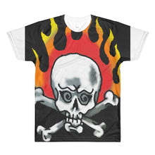 Flaming skull with logo on backAll-Over Printed T-Shirt
