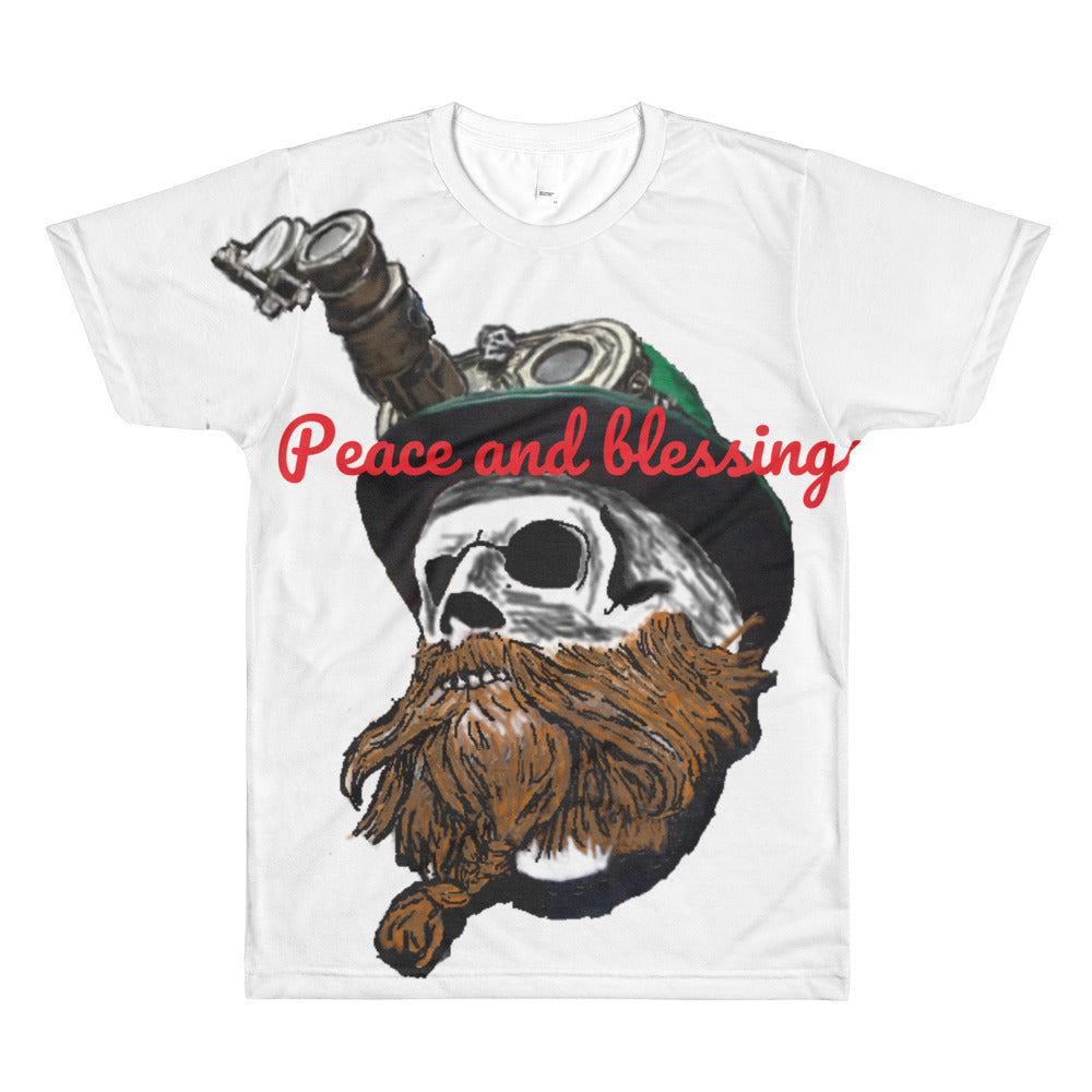 Steampunk skull peace and blessings All-Over Printed T-Shirt