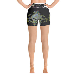 Golden skull Yoga Shorts